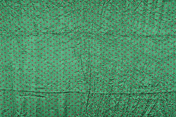 Islamic-Green Printed Bandhani Fabric