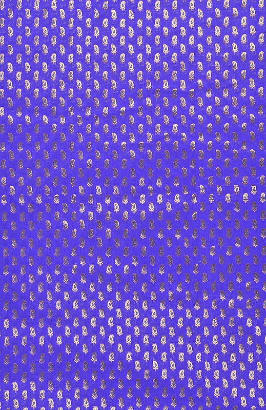 Purple Banarasi Fabric with Woven Paisleys