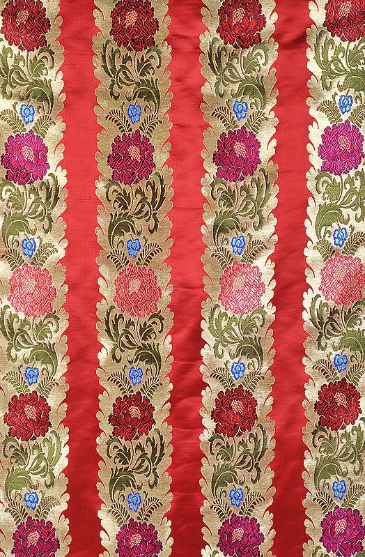 Red Border Fabric from Banaras with Large Woven Flowers