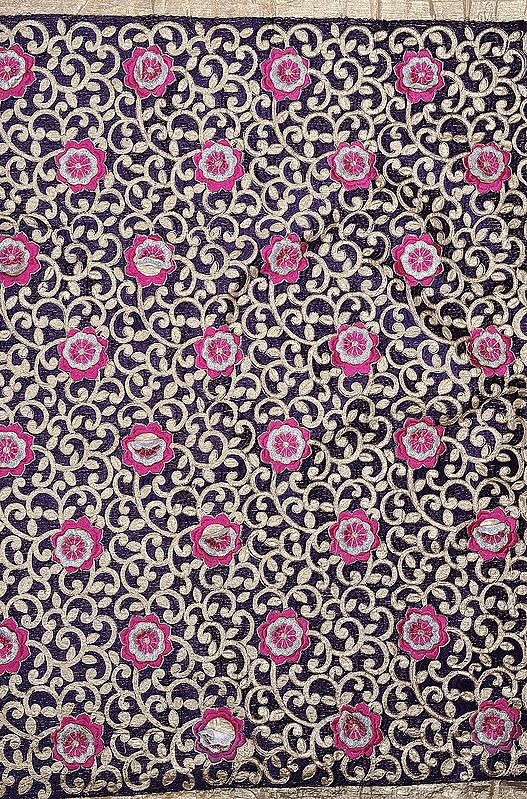 Tissue Fabric from Surat with Metallic Thread Embroidered Flowers and Golden Border