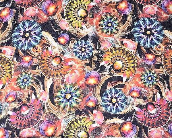 Multi-Color Fabric with Self Weave and Digital Printed Flowers