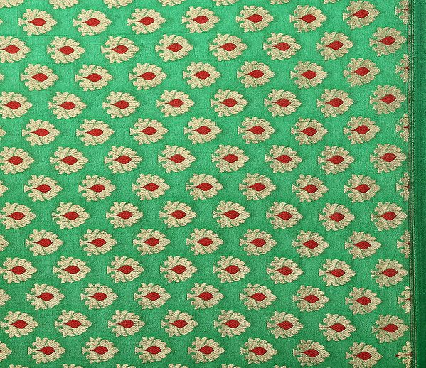 Kelly-Green Fabric from Banaras with All-Over Woven Bootis