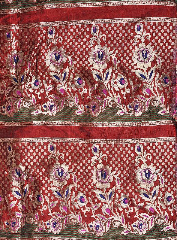 Scarlet-Red Brocade Fabric from Banaras with Golden Zari Weave