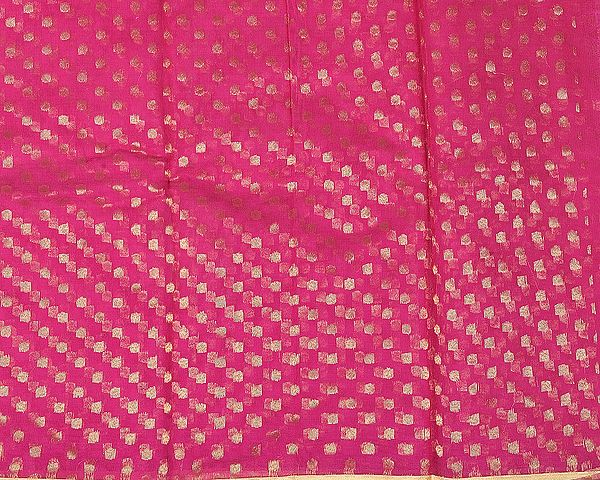 Brocade Fabric from Banaras with All-Over Woven Bootis and Golden Border