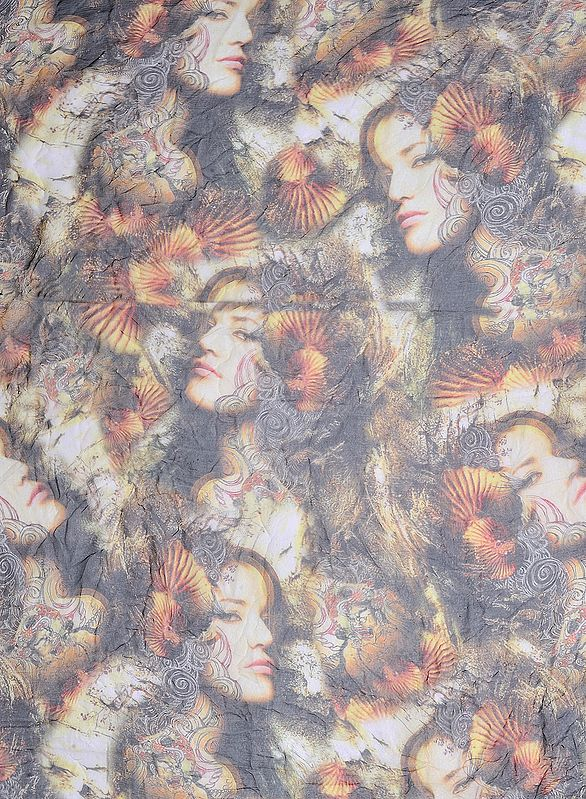 Beige and Black Fabric with Digital Printed Lady Figures