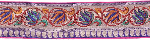 Fuchsia Banarasi Katan Fabric with All-Over Hand-Woven Flowers and Leaves