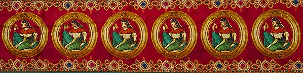 Digital-Printed Fabric Border with Lady Looking in Mirror