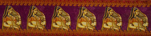 Digital-Printed Fabric Border with Lady in Ghoonghat