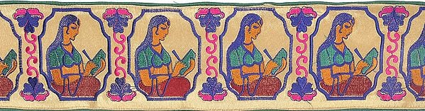 Dodama Brocade Border from Banaras with Hand-woven Lady Figure