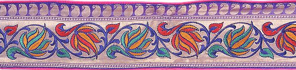 Katan Fabric Border from Banaras with Hand-woven Flowers