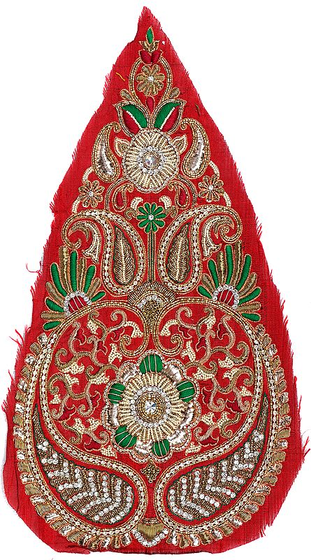 Pompeian-Red Long Embroidered Paisley Patch With Zardozi Embroidery