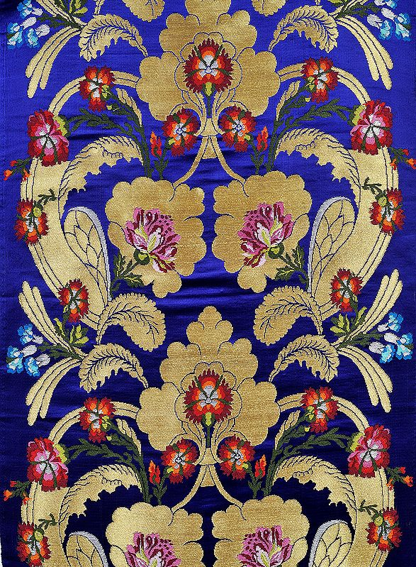 Dazzling-Blue Brocade Fabric from Banaras with Woven Flowers and Zari Weave by Hand