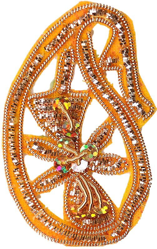 Golden Paisley Patch with Embroidered Zardozi Work
