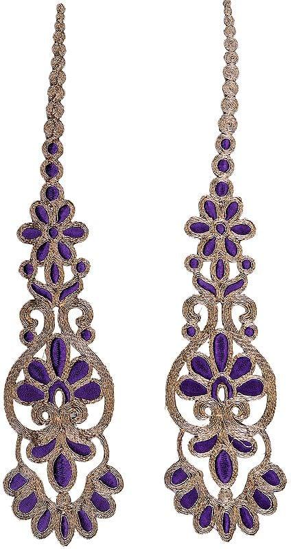 Dark-Purple Long Floral Patch with Metallic-Threadwork (Pair)