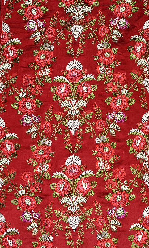 Cordovan-Red Tibetan Handloom Floral Brocade
