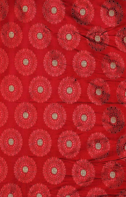 Rosewood-Colored Banarasi Fabric with Woven Chinese Shou Symbols