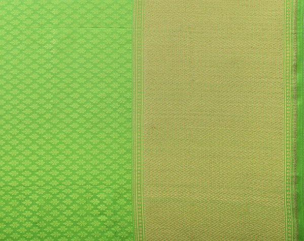 Jasmine-Green Self-Weave Banarasi Fabric with Golden Leharia Border