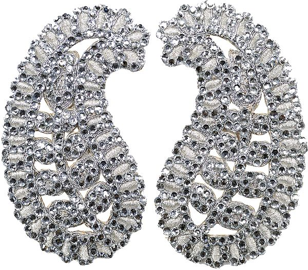 Silver Paisley Patch Embroidered with Beads (Pair)