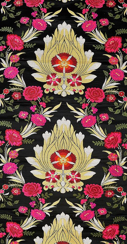 Caviar-Black Handloom Brocade Fabric from Banaras with Woven Roses
