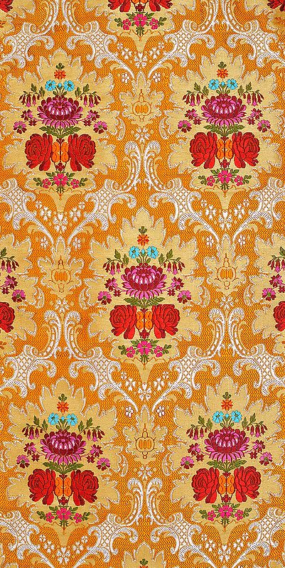 Inca-Gold Fabric from Banaras with Hand-woven Flowers and Zari Weave by Hand