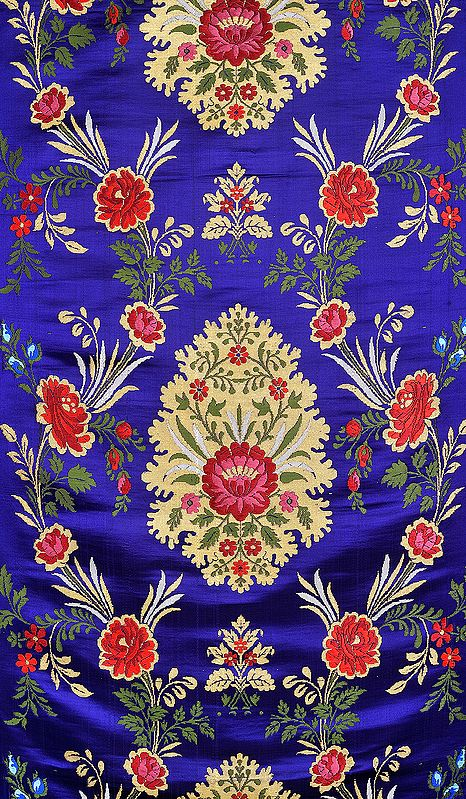 Royal-Blue Brocade Fabric from Banaras with Hand-woven Roses