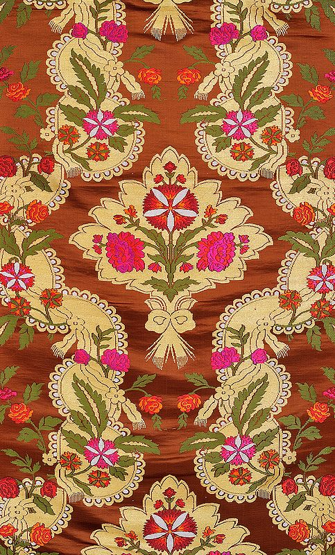 Toffee-Brown Brocade Fabric from Banaras with Hand-Woven Flowers and Zari Weave