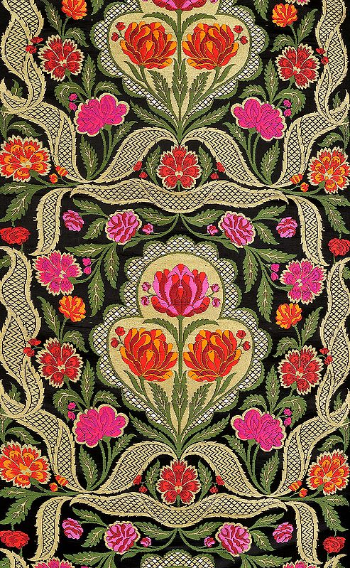 Jet-Black Brocade Fabric from Banaras with Hand-woven Lotuses