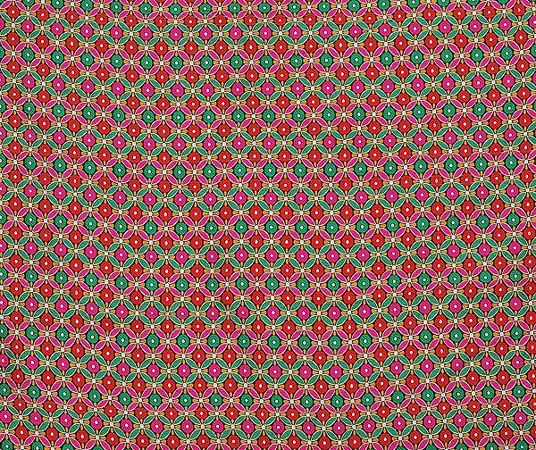 Multi-Color Floral Art Silk Fabric from Jaipur