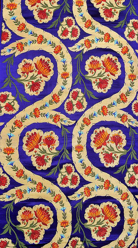 Deep-Ultramarine Brocade Fabric from Banaras with Hand-woven Lotuses and Zari Weave