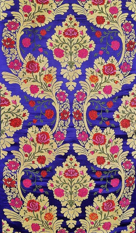Mazarine-Blue Tibetan Brocade Fabric from Banaras with Hand-woven Roses