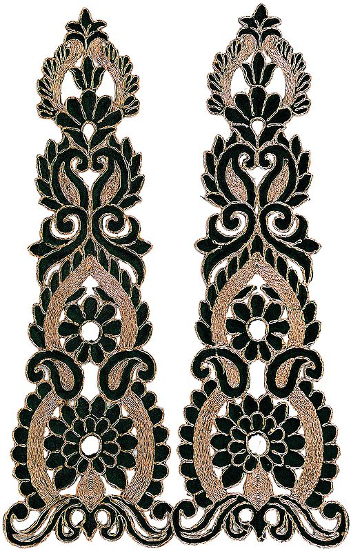 Pair of Floral Embroidered Patches with Cut-work