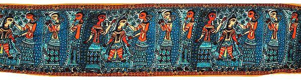 Algiers-Blue Fabric Border with Digital-Printed Madhubani Flolk Motifs