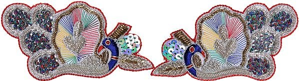Pair of Rainbow Zardozi Peacock Patches with Sequins