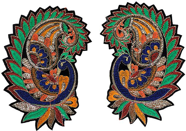 Pair of Embroidered Peacock Paisley Large Patches with Sequins