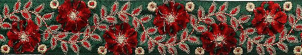 Green and Red Narrow Embroidered Fabric Border with Velvet Flowers