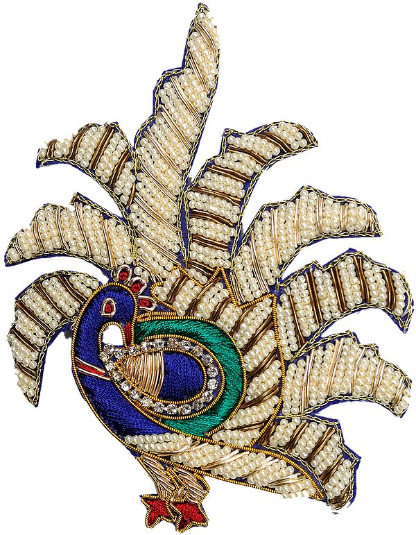 Blue Pearl Dancing Peacock Patch