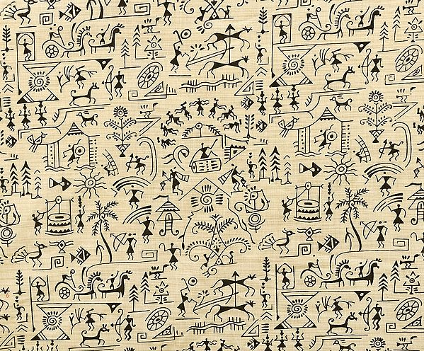 Almond-Oil Fabric from Jharkhand with Printed Warli Folk Motifs