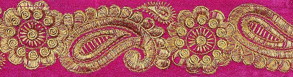 Raspberry-Rose Velvet Fabric Border with Zari-Embroiderd Flowers and Paisleys
