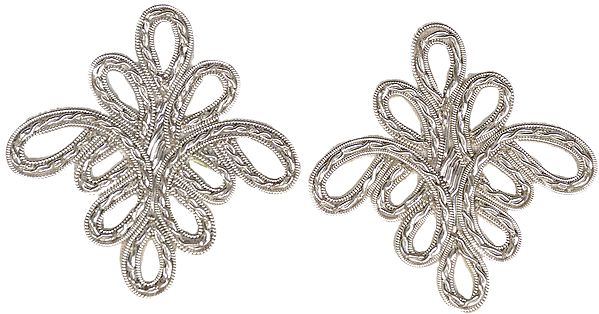 Pair of Silver Floral Patches