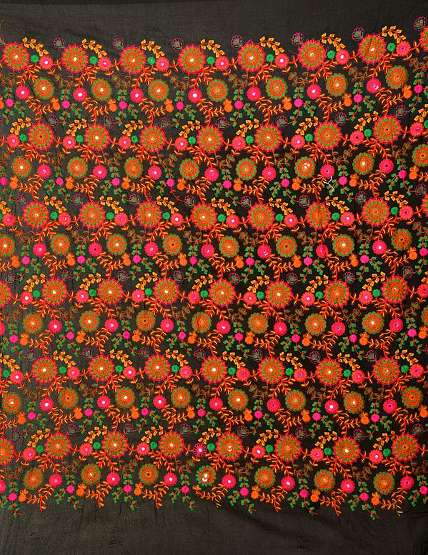 Fabric with Embroidered Flowers and Mirrors