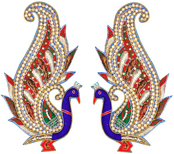 Pair of Zardozi Peacock Patches with Embellished Crystals and Sequins