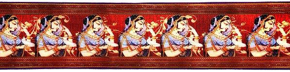 Bittersweet-Red Fabric Border with Digital Printed Lady