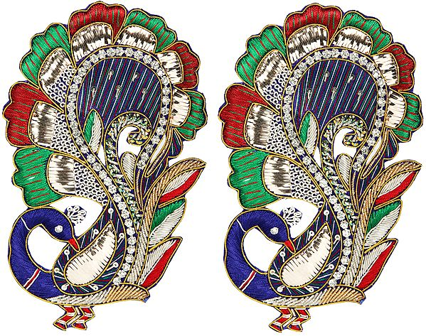 Zari-Embroidered Pair of Peacocks with Crystals Embellished on Feather