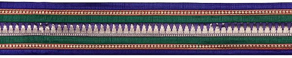 Tri-Color Fabric Border with Woven Golden Bootis