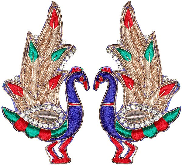 Pair of Zardozi Peacock Patches with Embellished Crystals