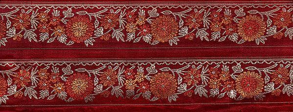 Deep-Claret Fabric with Zari-Woven Flowers