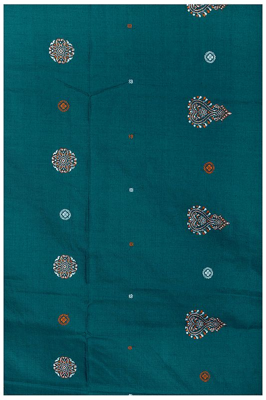 Shaded-Spruce South-Cotton Handloom Fabric from Karnataka with Hand-Woven Motifs