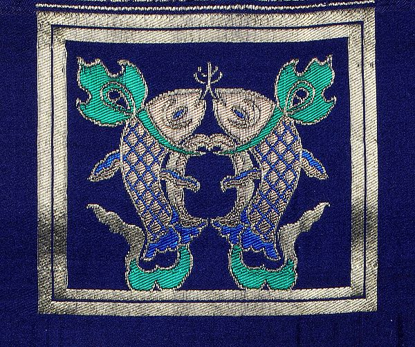 Astral-Aura Auspicious Handloom Buddhist Fish Patch from Banaras