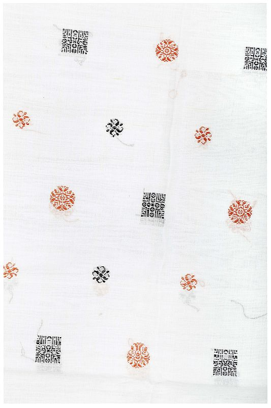Bright-White Hand-Woven Fabric from Karnataka with Bootifs