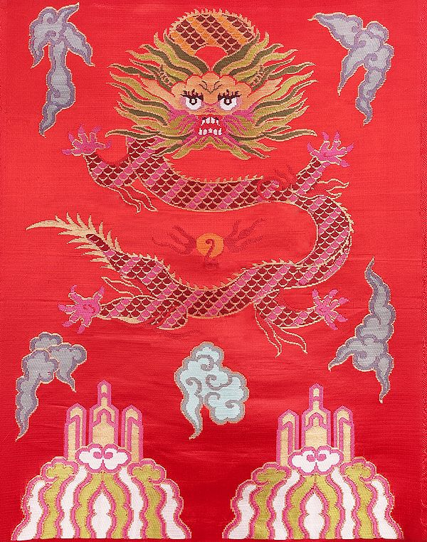 Chinese-Red  Hand-woven Tibetan Dragon Brocade Patch from Banaras
